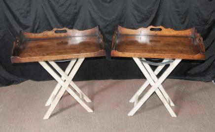 Paire Butlers Tray stand Tables d'appoint