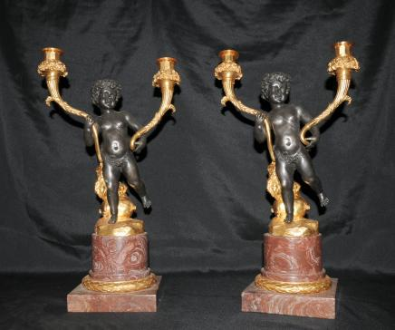 Paire Chérubin Bronze Chandeliers Bougies français Clodion