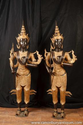Paire De grandes statues de bronze Bali Temple de Bouddha bouddhisme bouddhiste Art