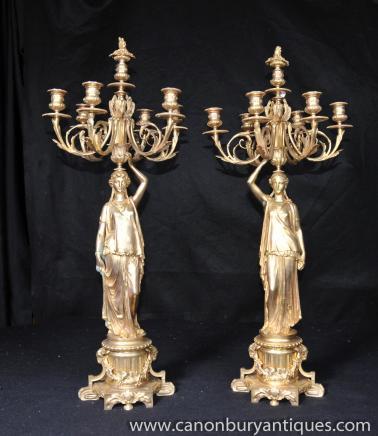 Paire Empire français Ormolu Figurine Candélabres Bougies