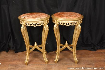 Paire Louis XV doré piédestal Stands Side Tables Meubles