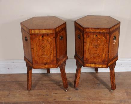 Paire Satinwood Edwardian celliers tableaux