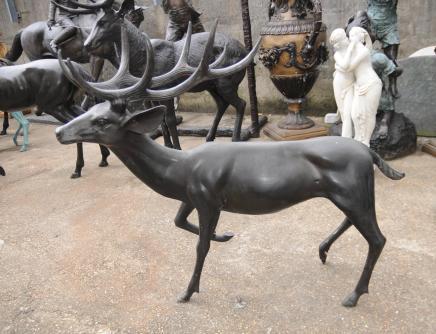 Paire XL Architectural Bronze Cerfs Cerfs Animaux Art Garden