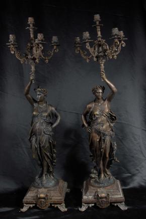 Paire de 3 pieds français Bronze Gregoire Candélabres torchères