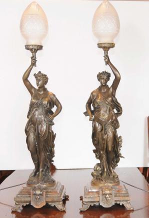 Paire de bronze Gregoire Candélabres français Lumières Signée