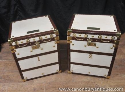 Paire de cuir blanc anglais bagages Boîtes Malles cas de Tables basses