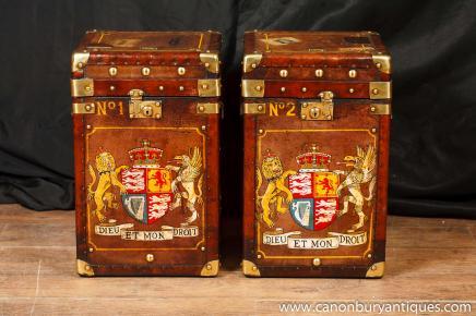 Paire en cuir Tables coffre à bagages latéraux café Box tableau