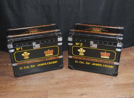 Paire en cuir anglais bagages Malles Boîtes Tableaux de café