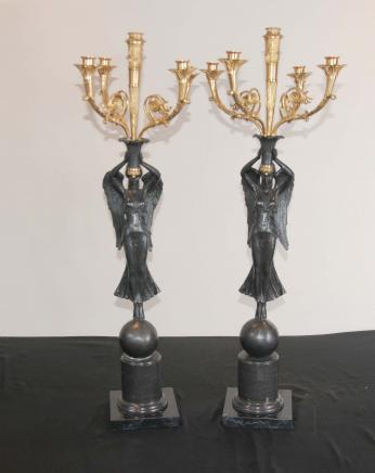 Paire français Bronze Ange Candélabres Bougies