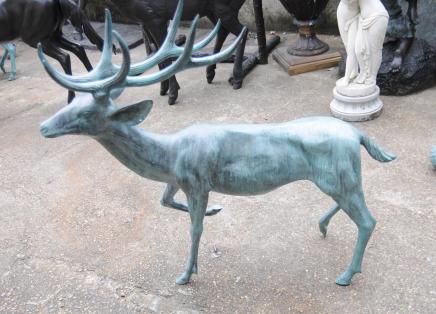 Paire grand bronze cerfs cerfs Antlers Jardin Animaux