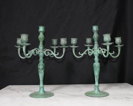 Paire victorienne Bronze Chandeliers Chandeliers