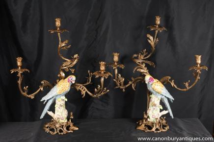 Parrot Candélabres Bougies Direction Oiseau Porcelaine paire Empire français