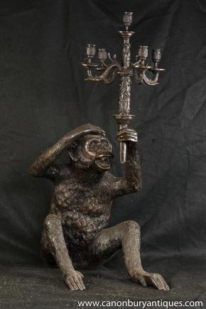 Quirky Bronze singe Chandelier Statue Bougie Ape Primat casting