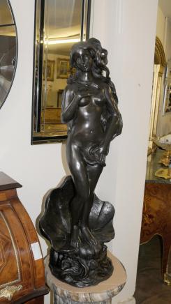 Rococo italien Bronze Siren Femme Figurine Fontaine Nu Statue