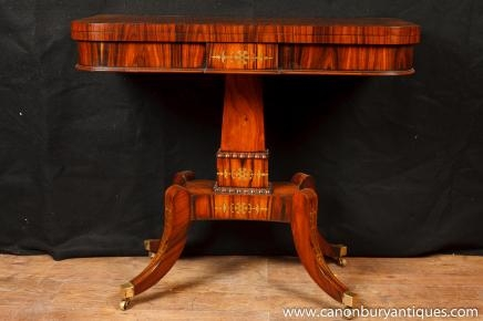 Simple Regency Jeux Cartes table d'appoint occasionnel tableaux Rosewood meubles