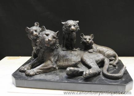 Statue en bronze Tiger Cubs et les Lions Animaux casting