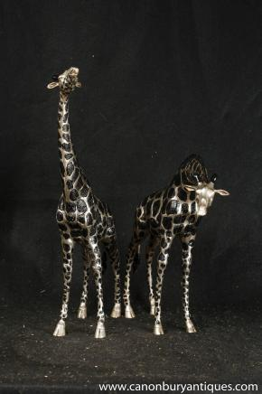 Statues paire Bronze Giraffe tribaux Art Animaux africains