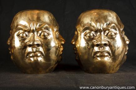Statues paire de bronze tête de Bouddha bouddhisme bouddhistes