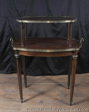 Tables français Empire Antique Etagere Table à deux niveaux secondaires 1 890
