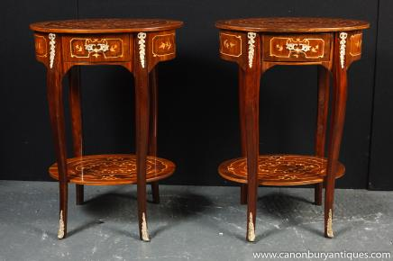 Tables paire Louis XIV Inlay secondaires canapé d'appoint Table