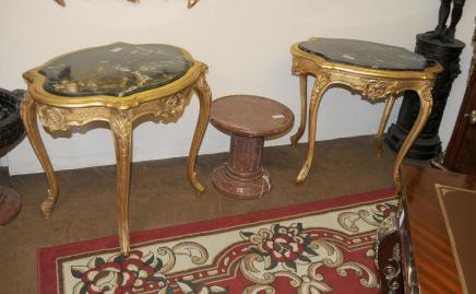 Tables paire Louis XV doré secondaires occasionnels Cocktail Sofa Table