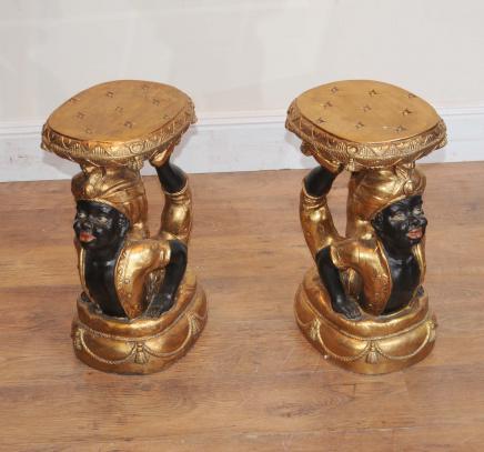 Tables paire Nègre secondaires Sculpté nègres de cocktail