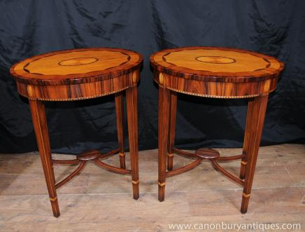 Tables paire Regency ovale secondaires Rosewood Satinwood marqueterie