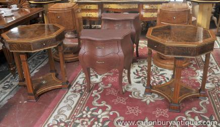 Tables paire Regency secondaires octogonale Table Noyer