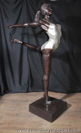 XL français Bronze Art Déco Danseur de ballet Statue architectural