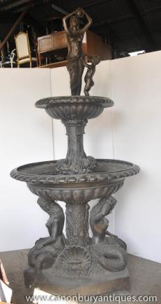 XL italien Bronze sirène à volants Fontaine Élément architectural