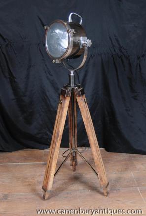 Éclairage bois Chrome Lampe Tripode architectural spot Lampadaire Lumière