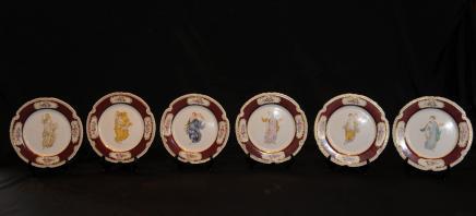 6 Français porcelaine de Sèvres Maiden Vaisselles Assiettes