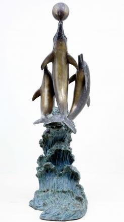 8 pi italien Bronze Dolphin marsouin Fontaine