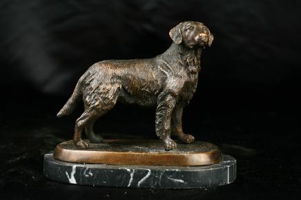 Anglais Bronze Dog Statue Golden Retriever
