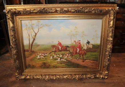 Anglais Fox Hunt peinture à l'huile Scène Cheval Art victorien Jocked