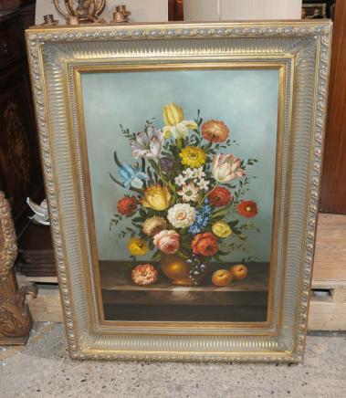 Anglais Peinture à l'huile florale Toujours Life Art Peinture cadre doré