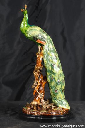 Anglais majolique Porcelaine Peacock oiseaux Figurine Statue Poterie