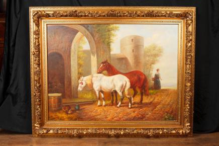 Anglais peinture à l'huile Chevaux Cheval Portrait cadre doré Art Signé G Roy