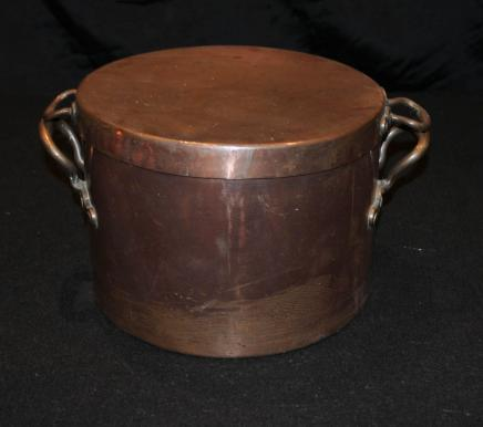 Antique Copper Pot Bowl à couvercle Pan anglais