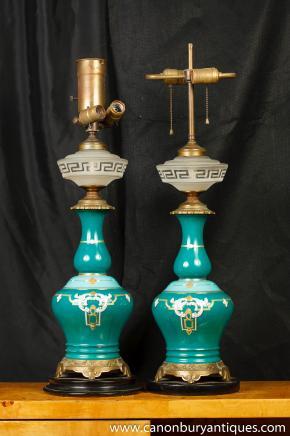Antique Français Nouveau lampes de table en porcelaine couper le verre Lumières 1910