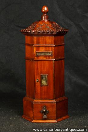 Antique Mahogany anglais Post Box Cabinet Letter Box Est