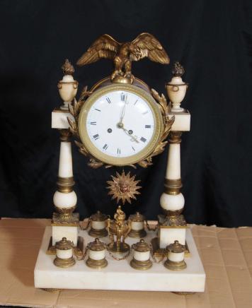 Antique Napoléon III Pendule en marbre doré au mercure Horloges 1880