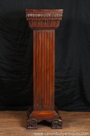 Antique Regency piédestal colonne Support Pieds de table Rams Head