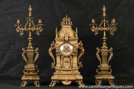 Antique français Ormolu Mantel horloge Réglez Candélabres Garniture néoclassique