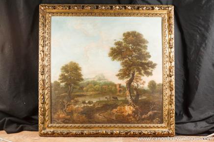 Antique italien toscan huile peinture de paysage du 18ème siècle antique pastorale