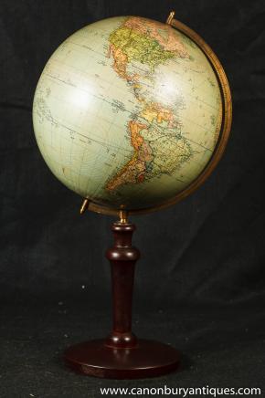 Antique suédois Globe Carte Acajou Stands