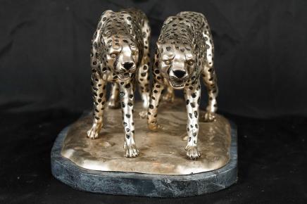 Argent Bronze Statue Cheetah Cat Cheetahs Déco casting
