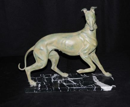 Art Bronze Chien Greyhound Deco Statue casting Chiens