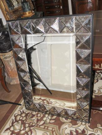 Art Déco verre miroir Miroirs, 4 pieds