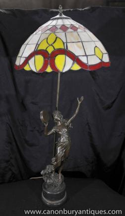 Art Nouveau Bronze Lampe Tiffany Figurine Table lumineuse Statue